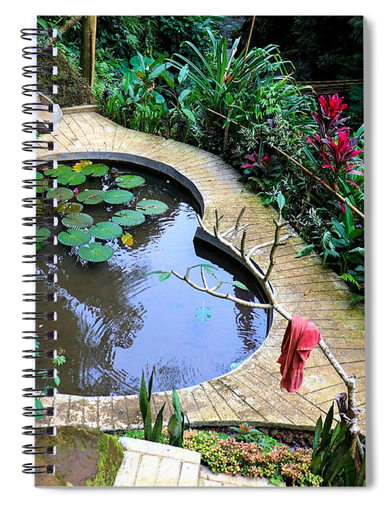 Heart Spiral Notebook featuring the digital art Heart-shaped pond with water lilies by Worldvibes1