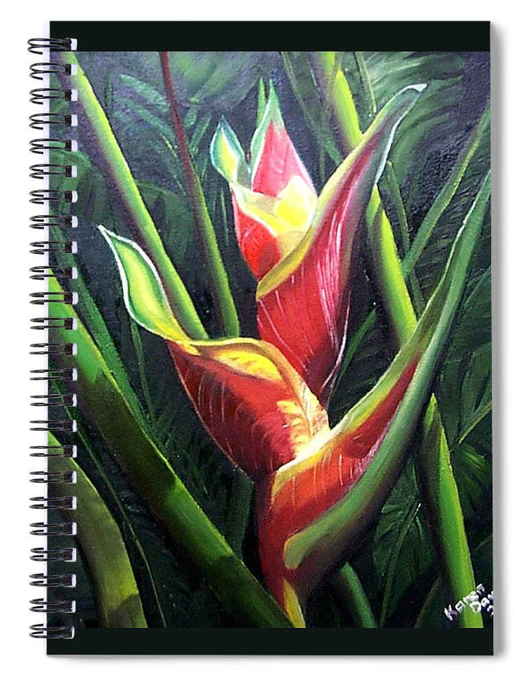 Tropical Floral Flower Heliconia Caribbean Painting Tropical Painting Botanical Painting Spiral Notebook featuring the painting Heliconia by Karin Dawn Kelshall- Best