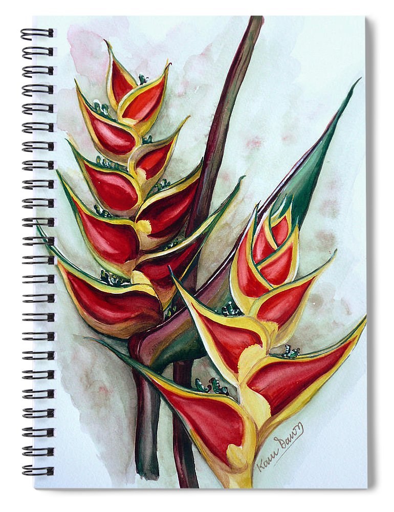 Caribbean Painting Flower Painting Floral Painting Heliconia Painting Original Watercolor Painting Of Heliconia Bloom  Trinidad And Tobago Painting Botanical Painting Spiral Notebook featuring the painting Heliconia Tropicana Trinidad by Karin Dawn Kelshall- Best