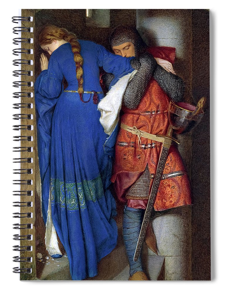 Frederic William Burton Spiral Notebook featuring the painting Hellelil And Hildebrand, The Meeting On The Turret Stairs, 1864 by Frederic William Burton