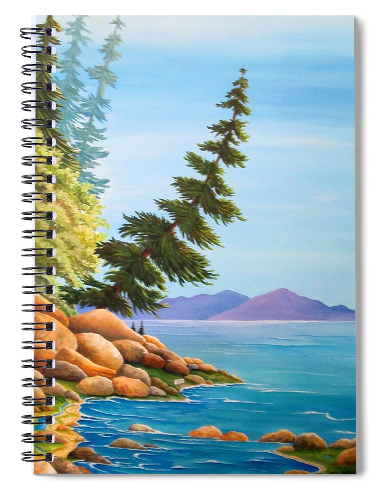 Hidden Cove Spiral Notebook featuring the painting Hidden Cove by Carol Sabo
