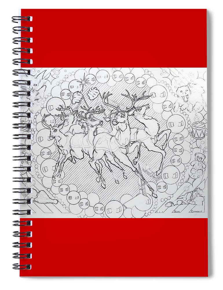 Charcoal Pencil Spiral Notebook featuring the drawing His Courses They Came by Sean Connolly