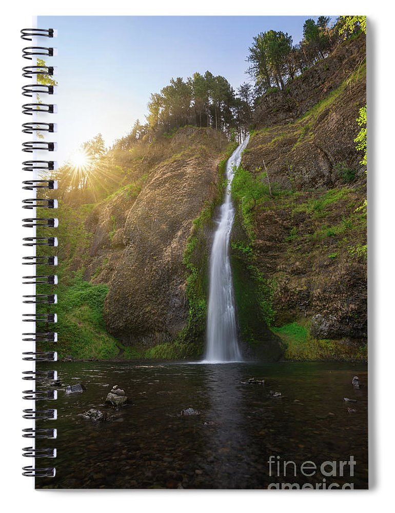 Horsetail Falls Spiral Notebook featuring the photograph Horsetail Falls Sunrise by Michael Ver Sprill