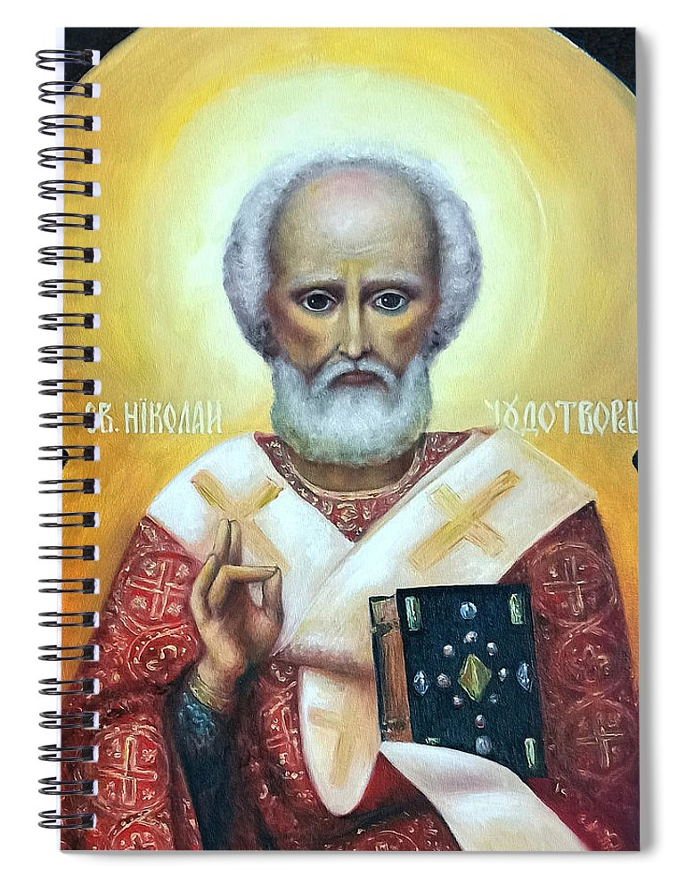 Religion Spiral Notebook featuring the painting icon of St Nicholas the Wonderworker by Natalja Picugina