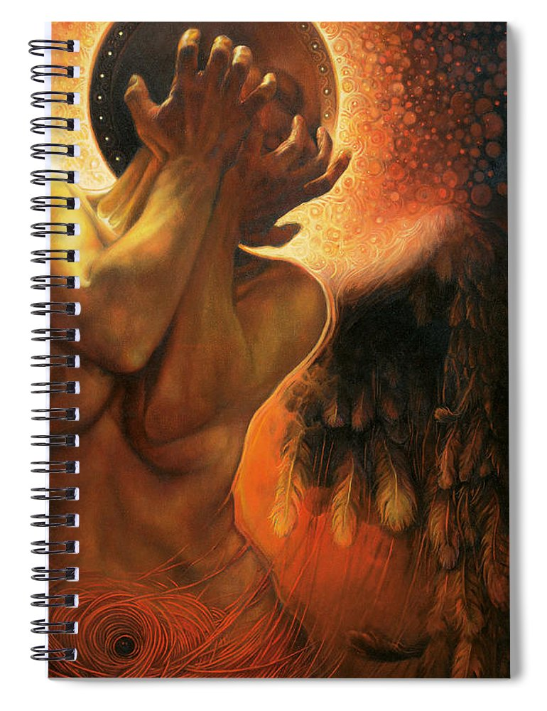 Angel Spiral Notebook featuring the painting Im in the shadow of you by Graszka Paulska
