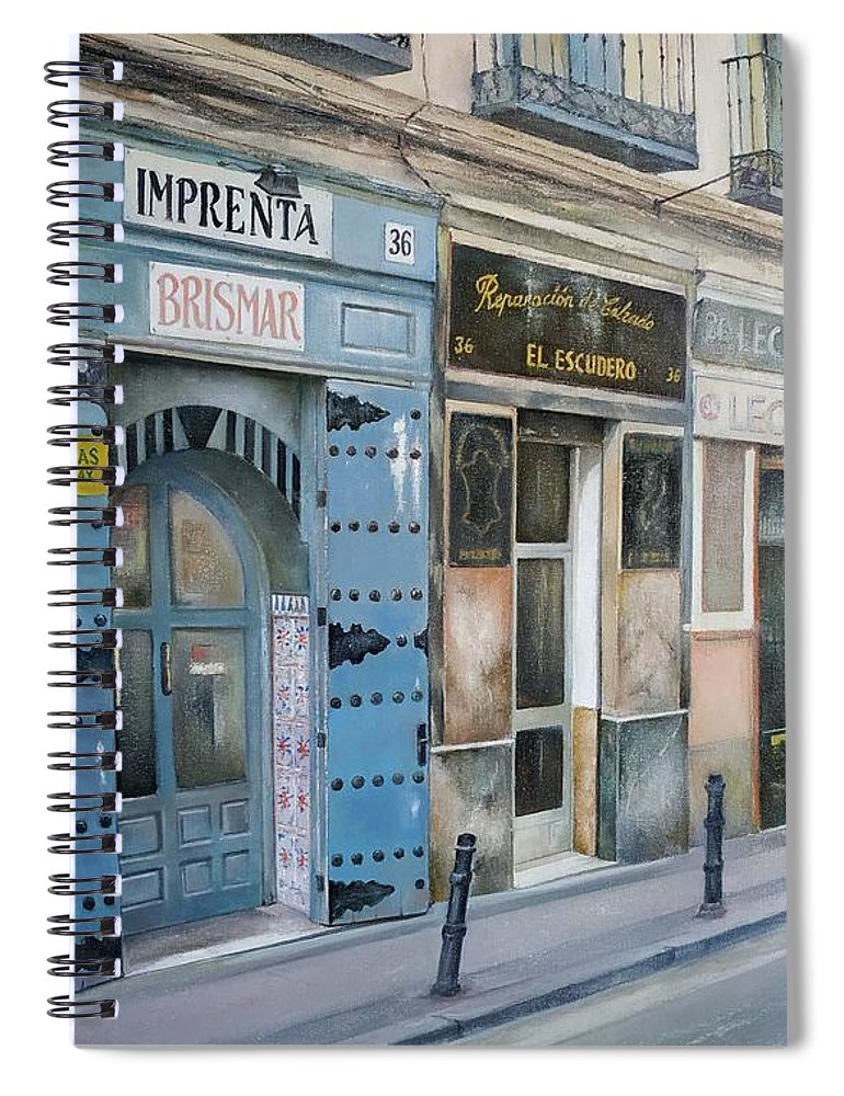 Madrid Spiral Notebook featuring the painting Imprenta Brismar by Tomas Castano