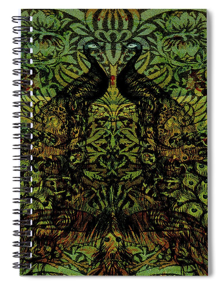 Peafowls Spiral Notebook featuring the digital art Indian Blue Peafowl Pattern by Sarah Vernon