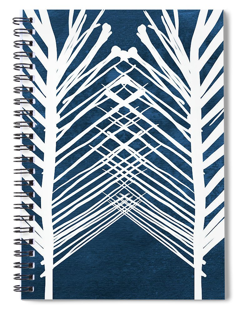 Leaves Spiral Notebook featuring the painting Indigo and White Leaves- Abstract Art by Linda Woods