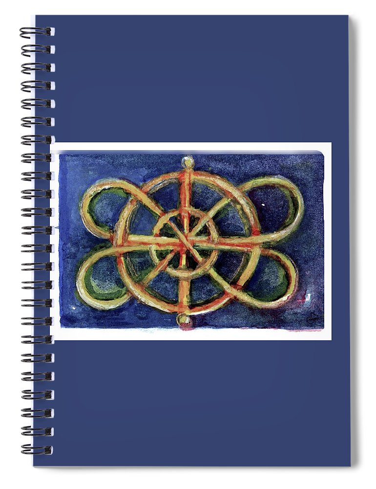 Miniature Spiral Notebook featuring the painting Infinity Loops by Elle Smith Fagan