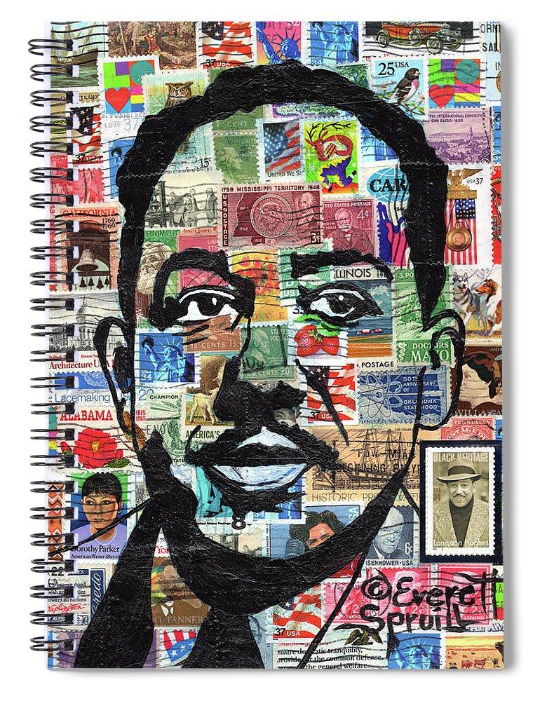 African Mask Spiral Notebook featuring the mixed media James Mercer Langston Hughes by Everett Spruill