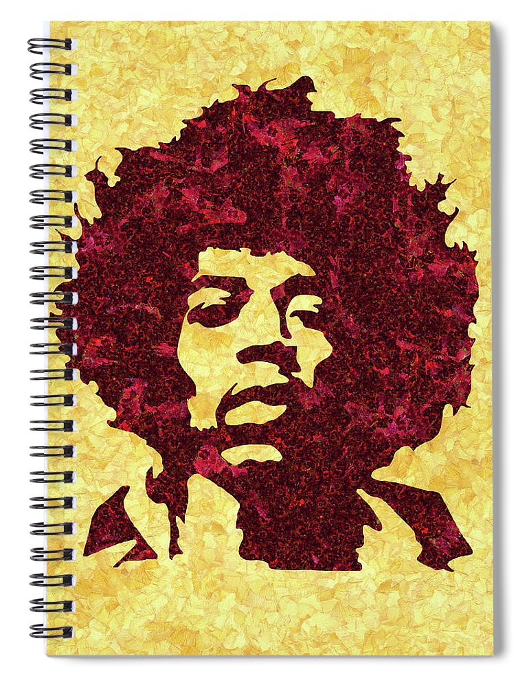 Jimi Hendrix Print Spiral Notebook featuring the mixed media Jimi Hendrix Print, Jimi Hendrix Poster, Rock Music Lovers Gift by Irina Pospelova