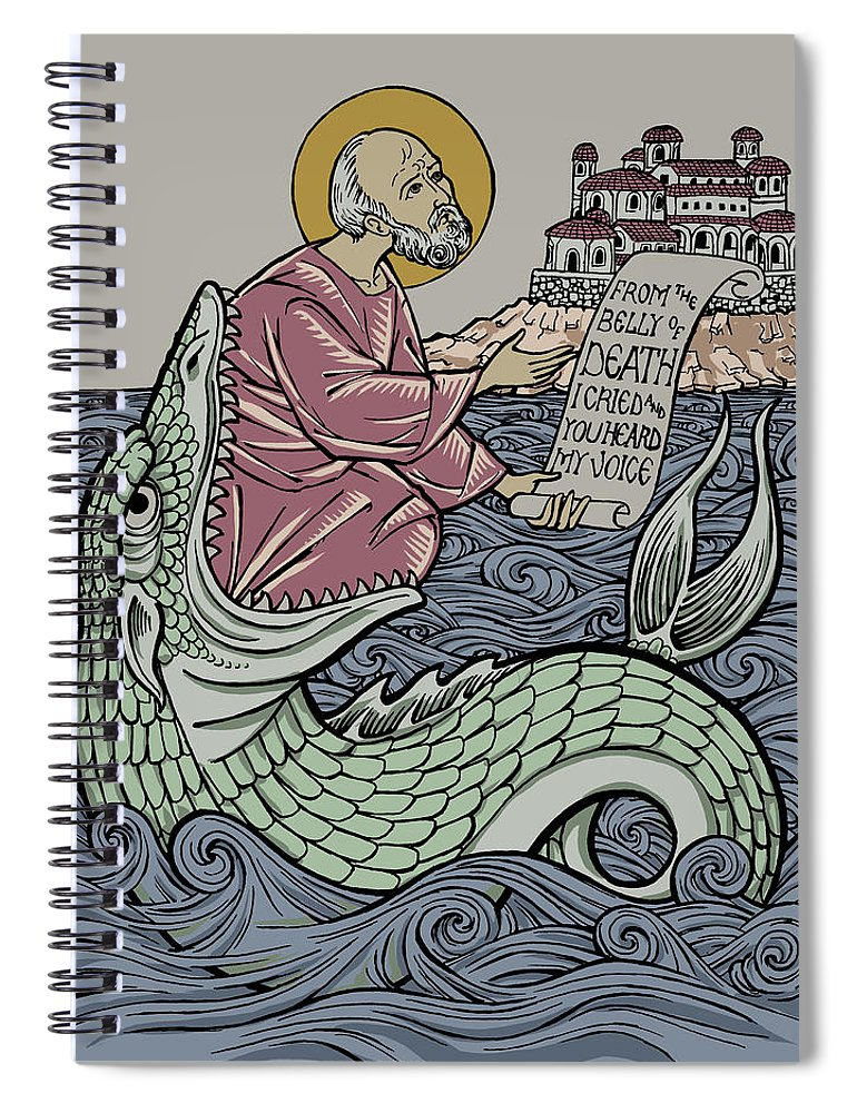 Jonah Spiral Notebook featuring the drawing Jonah and The Sea Monster by Jonathan Pageau