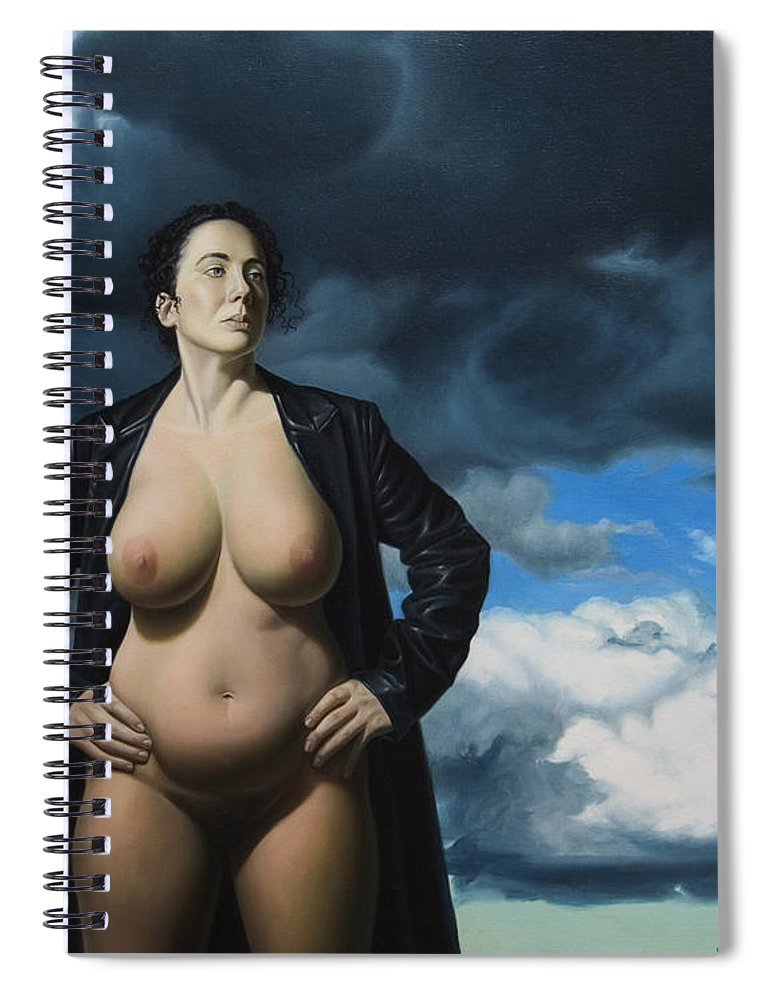Female Nude Spiral Notebook featuring the painting Just A Girl A Coat And Some Clouds by Gary Hernandez