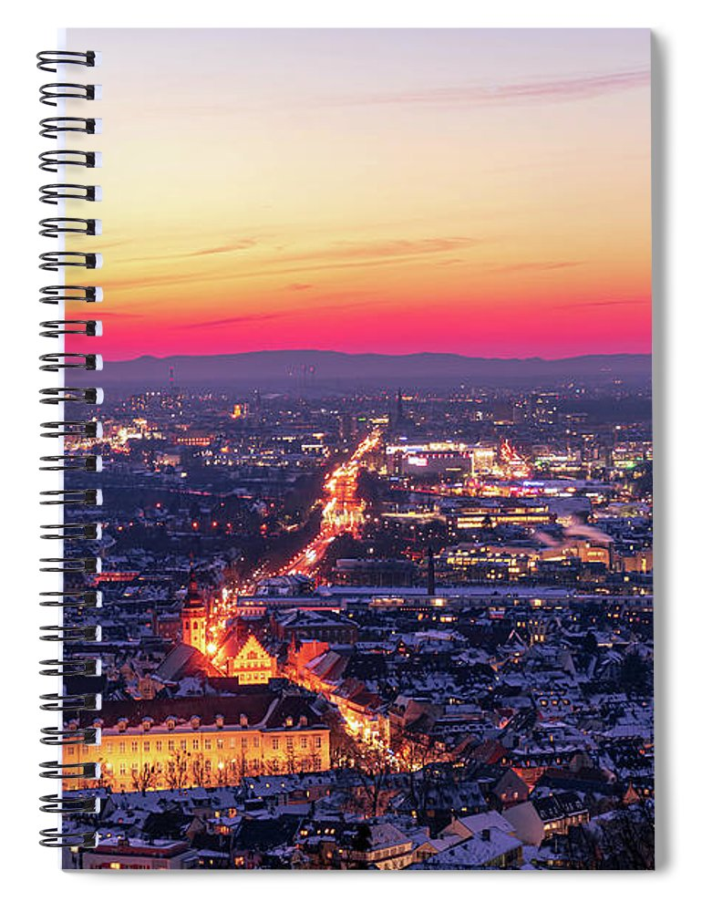 Karlsruhe Spiral Notebook featuring the photograph Karlsruhe in winter at sunset by Hannes Roeckel