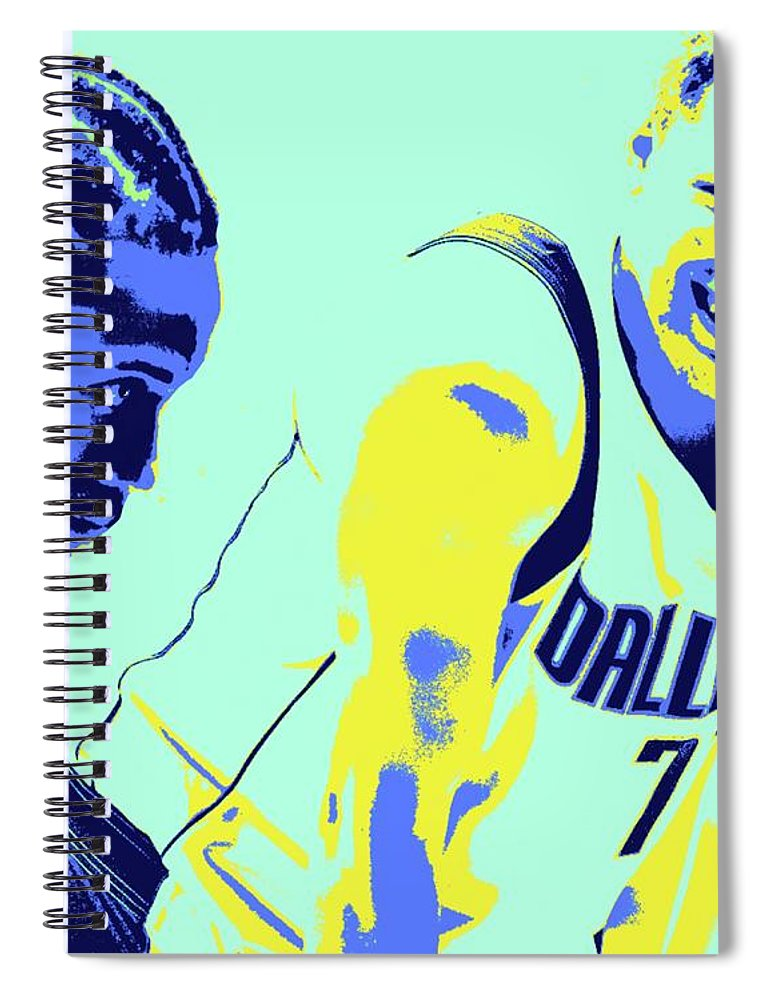 Kawhi Spiral Notebook featuring the painting Kawhi and Luca by Jack Bunds