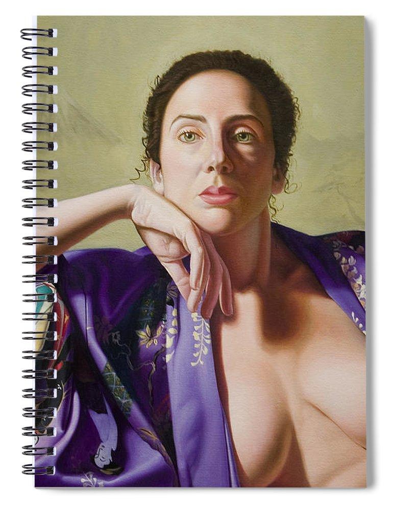 Purple Silk Kimono Spiral Notebook featuring the painting Kimono by Gary Hernandez