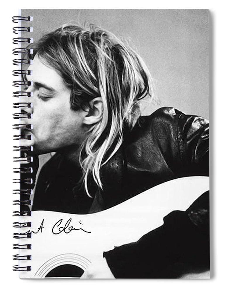 Kurt Cobain Spiral Notebook featuring the photograph KURT COBAIN - SMOKING POSTER - 24x36 MUSIC GUITAR NIRVANA by Trindira A