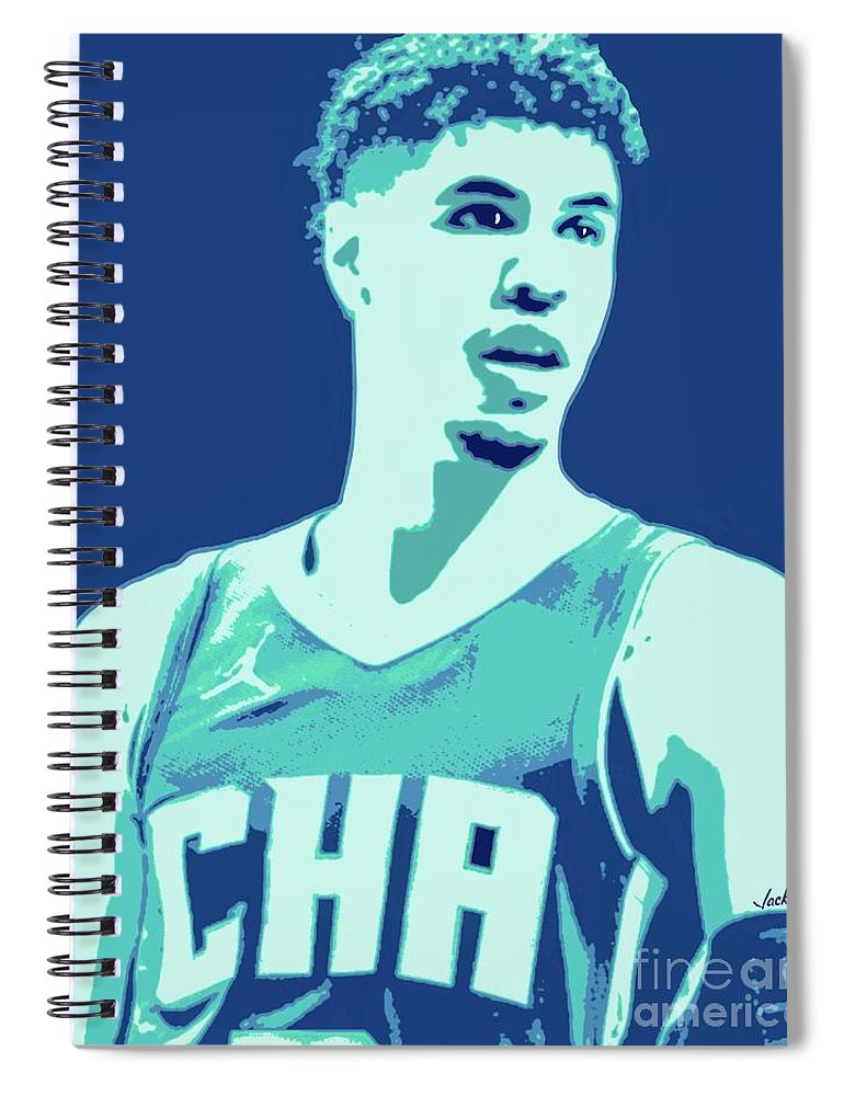 Lamelo Spiral Notebook featuring the painting LaMelo Ball by Jack Bunds