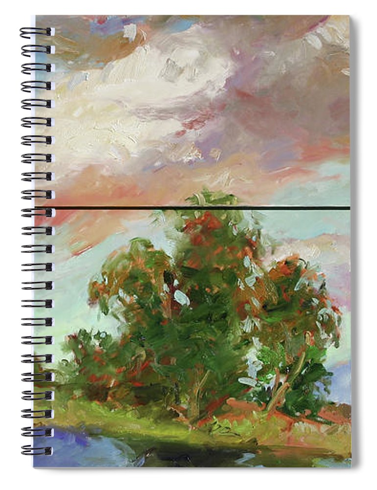 Murals Spiral Notebook featuring the painting Last of Sand Creek - Plein Air by Betty Jean Billups