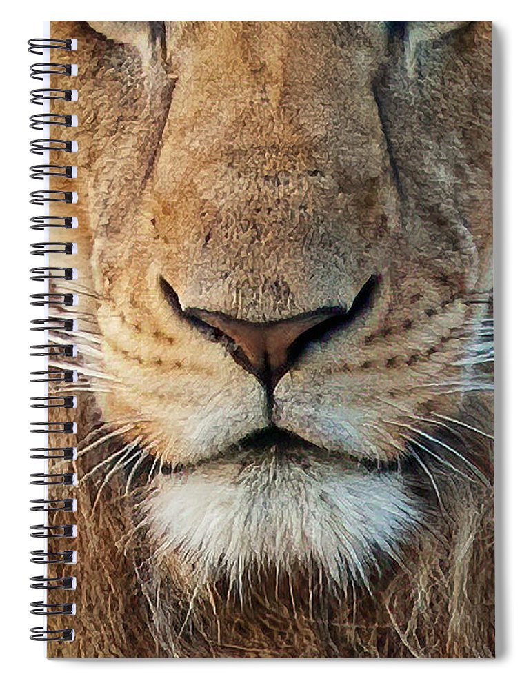 Lion Spiral Notebook featuring the photograph Lion by Steven Sparks