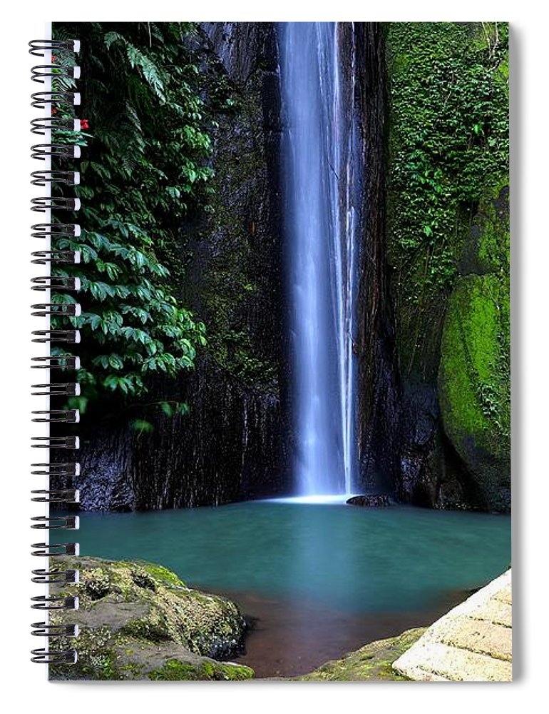 Waterfall Spiral Notebook featuring the digital art Lonely waterfall by Worldvibes1