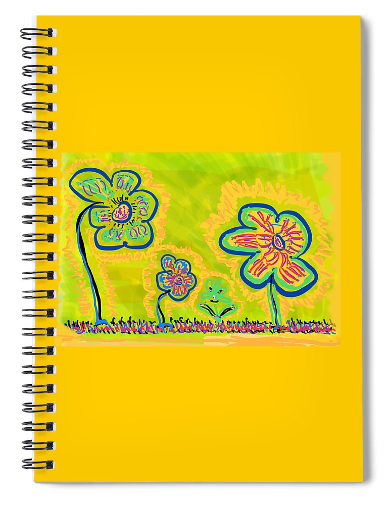Spring Spiral Notebook featuring the drawing Looking for Spring by Pam Roth O'Mara