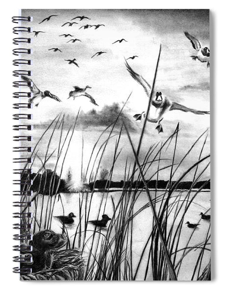 Looming Doom Spiral Notebook featuring the drawing Looming Doom by Peter Piatt
