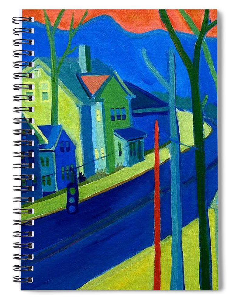Cityscape Spiral Notebook featuring the painting Lowell Deluge by Debra Bretton Robinson