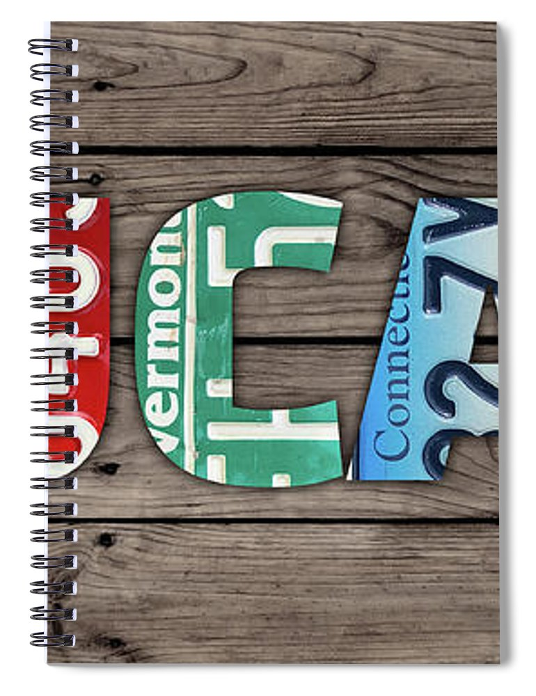 Lucas Spiral Notebook featuring the mixed media Lucas Name Vintage License Plate Art Lettering Sign by Design Turnpike