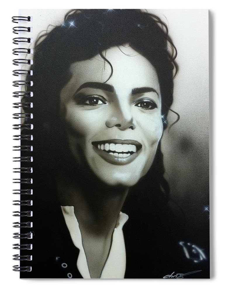 Michael Jackson Spiral Notebook featuring the painting M. J. by Christian Chapman Art