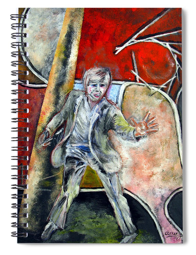 Male Spiral Notebook featuring the painting Mad World by Tom Conway