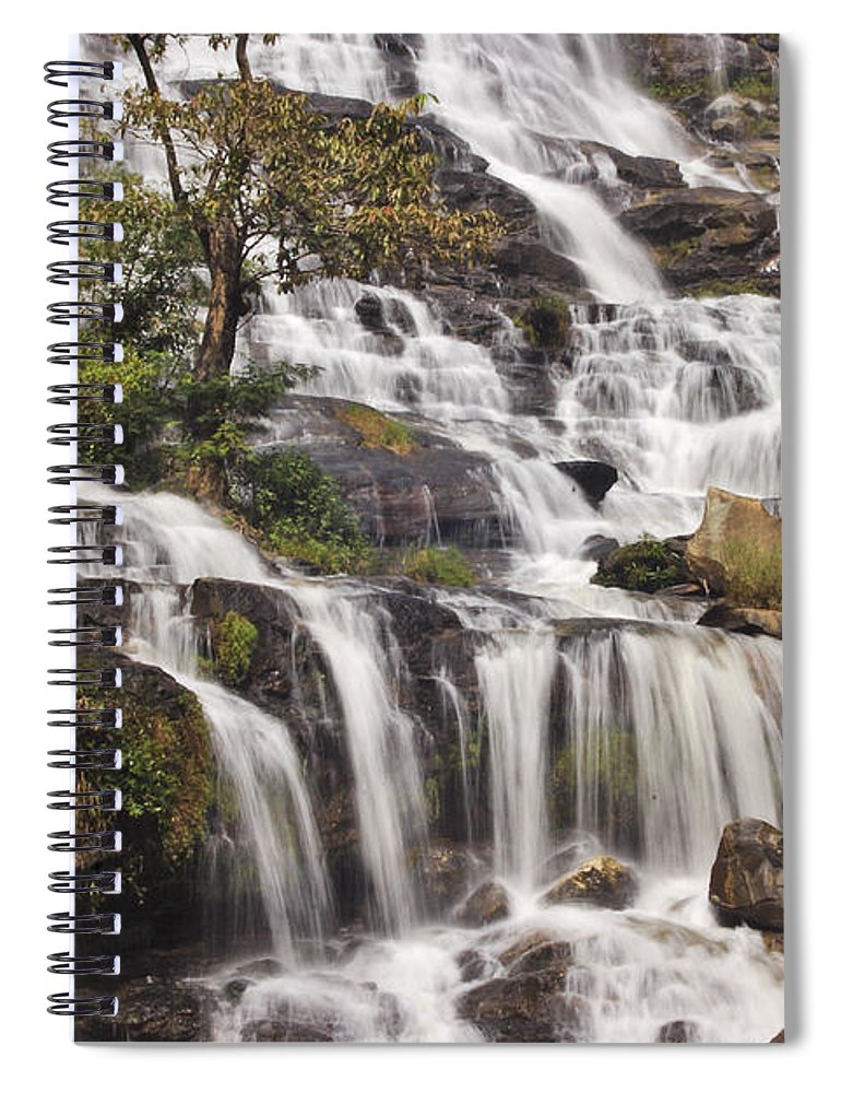 3scape Spiral Notebook featuring the photograph Mae Ya Waterfall by Adam Romanowicz