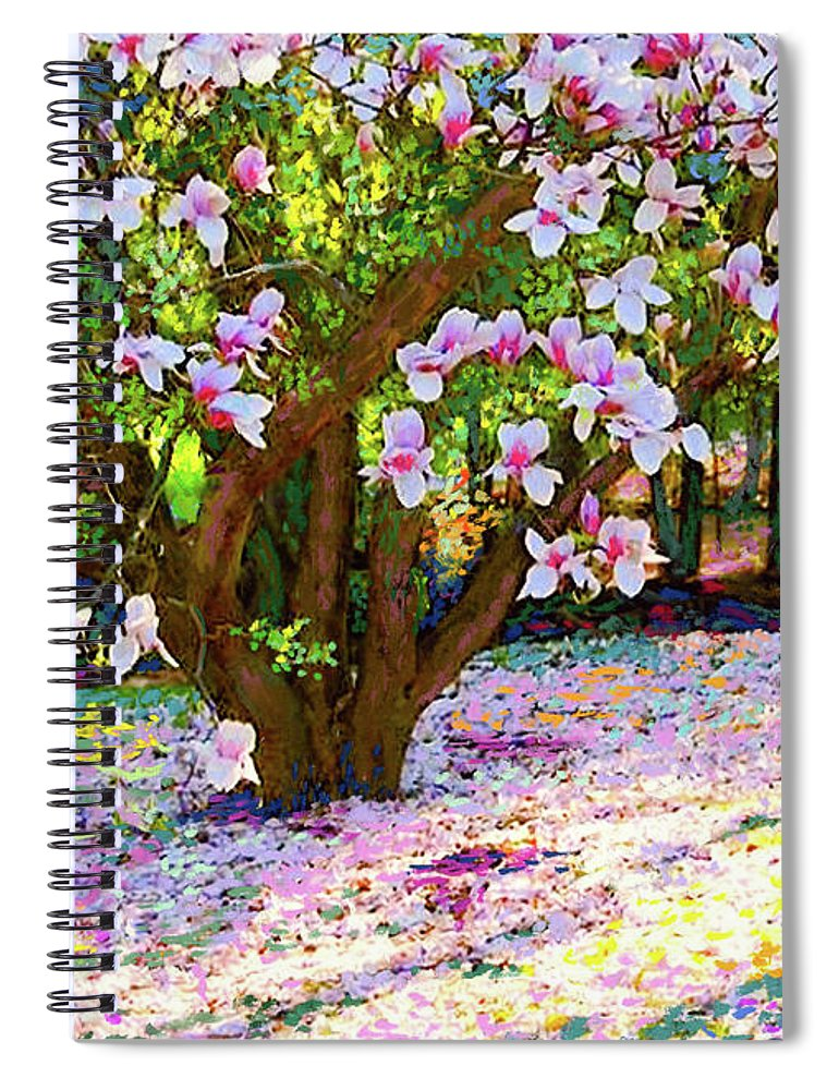 Landscape Spiral Notebook featuring the painting Magnolia Melody by Jane Small
