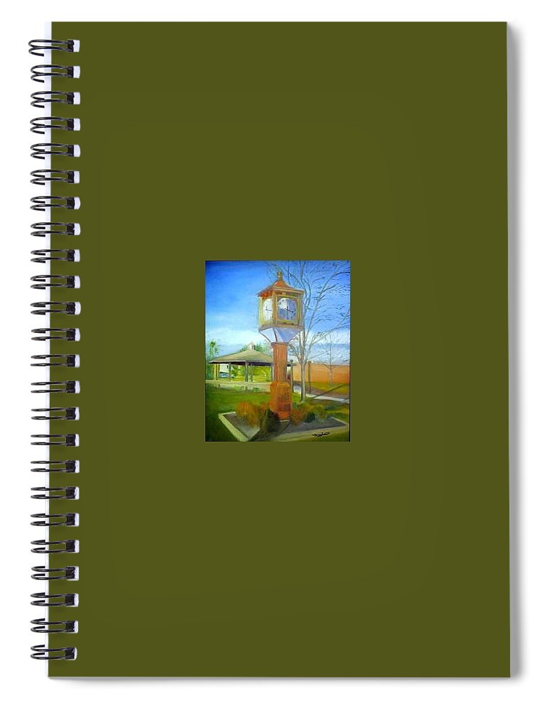 Maple Shade Spiral Notebook featuring the painting Maple Shade Clock by Sheila Mashaw