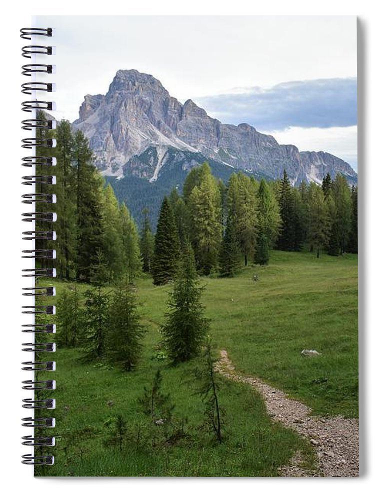Dolomites Spiral Notebook featuring the photograph Meadow in the dolomites by Luca Lautenschlaeger