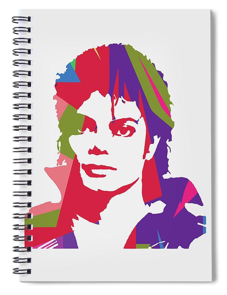 Michael Jackson Spiral Notebook featuring the digital art Michael Jackson 2 POP ART by Ahmad Nusyirwan