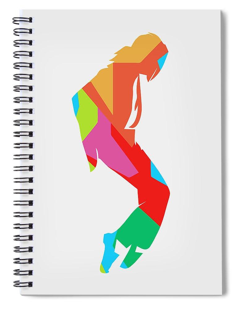 Michael Jackson Spiral Notebook featuring the digital art Michael Jackson Dance 2 POP ART by Ahmad Nusyirwan