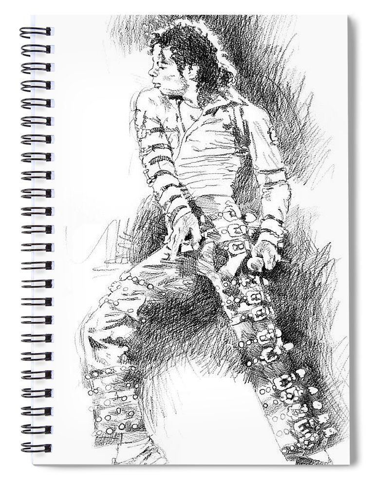 Michael Jackson Spiral Notebook featuring the drawing Michael Jackson - Onstage by David Lloyd Glover