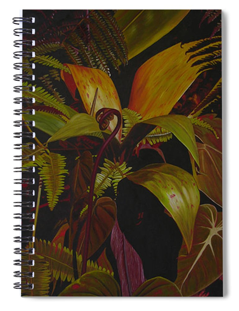 Plant Spiral Notebook featuring the painting Midnight in the garden by Thu Nguyen