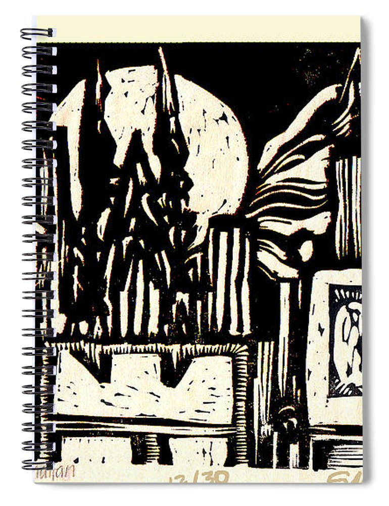 Bizarre Spiral Notebook featuring the mixed media Midnight Wind Over Manhattan by Seth Weaver
