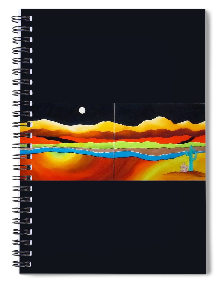 Moon Spiral Notebook featuring the painting Moon Over Desert River by Carol Sabo