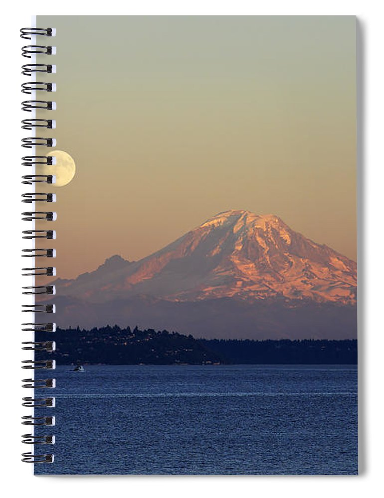 3scape Spiral Notebook featuring the photograph Moon Over Rainier by Adam Romanowicz