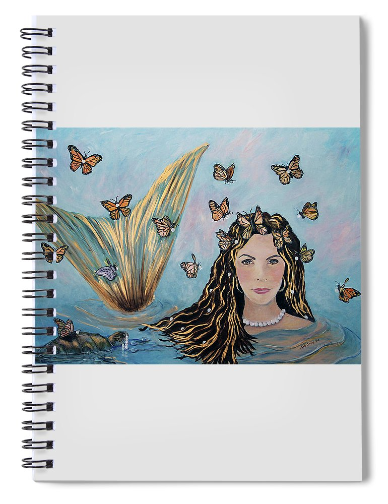 Mermaid Spiral Notebook featuring the painting More Precious Than Gold by Linda Queally