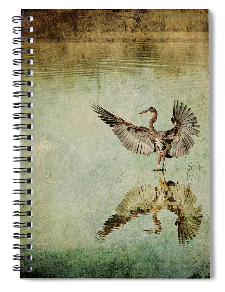Crane Spiral Notebook featuring the digital art Morning Arrival by Linda Lee Hall