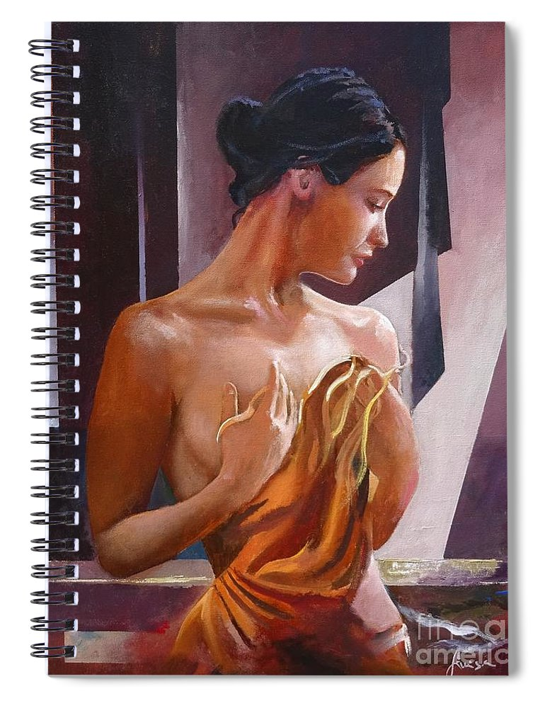 Female Figure Spiral Notebook featuring the painting Morning Beauty by Sinisa Saratlic