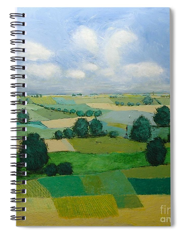 Landscape Spiral Notebook featuring the painting Morning Calm by Allan P Friedlander