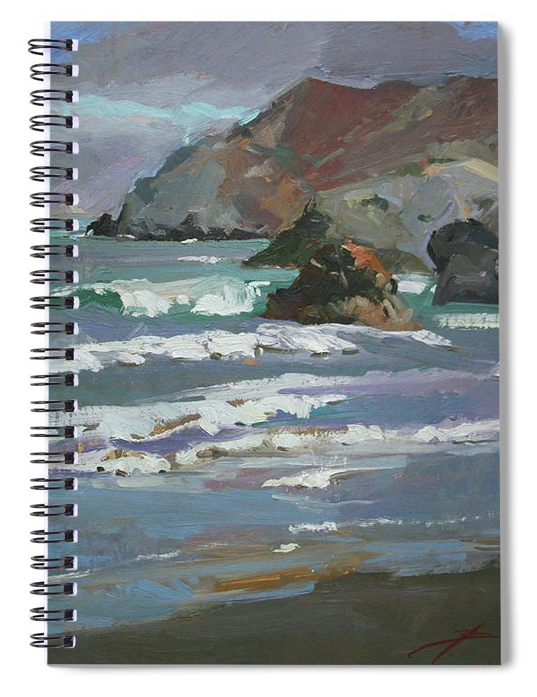 Seascape Spiral Notebook featuring the painting Morning Fog Shark Harbor - Catalina Island by Betty Jean Billups