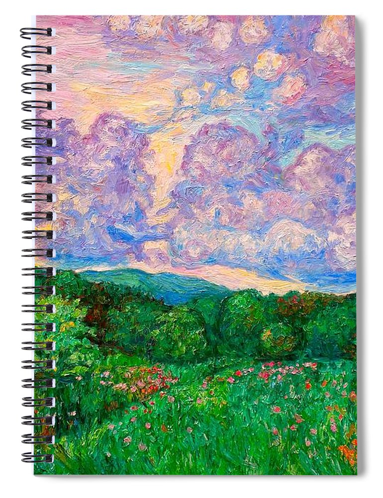 Landscape Spiral Notebook featuring the painting Mushroom Clouds by Kendall Kessler
