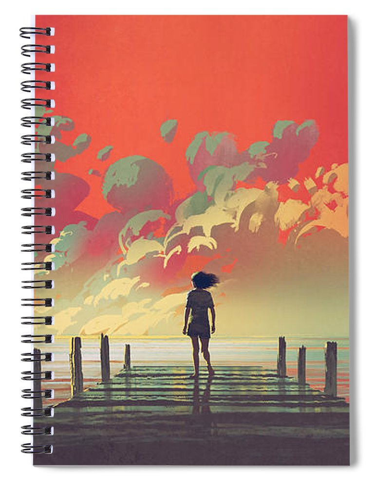 Illustration Spiral Notebook featuring the painting My Dream Place by Tithi Luadthong
