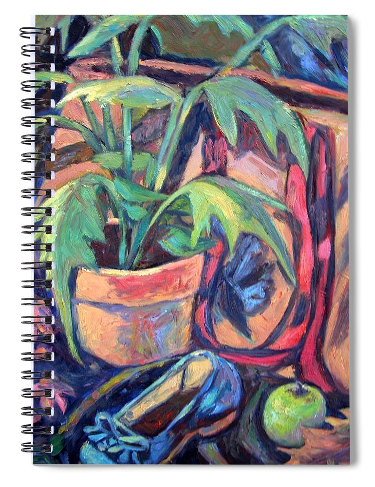 Plant Spiral Notebook featuring the painting My Old Shoe by Kendall Kessler